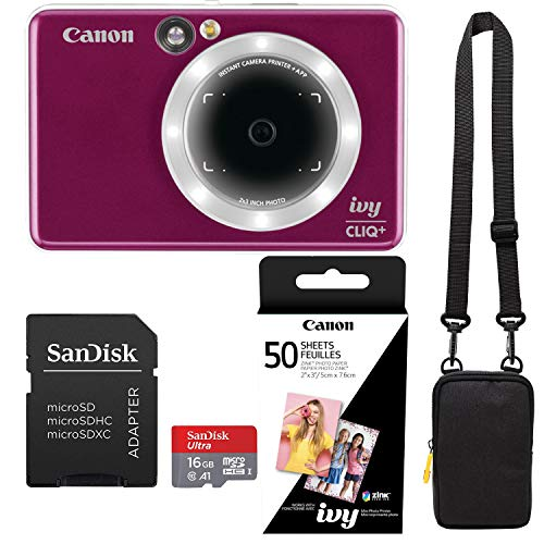 Canon Ivy Cliq+ Ruby Red Instant Camera Printer Bundle with Zink Paper (50 Sheets), Camera Bag and 16GB MicroSD Memory Card