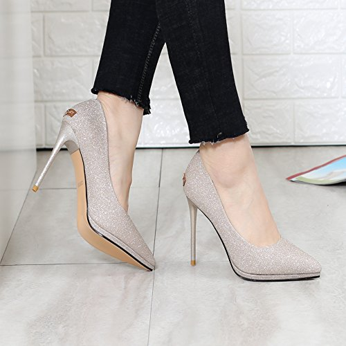 Platform 36 Mouth Shoes MDRW Spring Gold Single Fine Waterproof Lady Heels Leisure 10Cm Sharp Elegant Shallow Work Heel Head Shoe High Women'S wx6q1B
