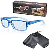 """Passive 3D Glasses for Kids - High Quality - Blue / Transparente - For RealD Cinema use and passive 3D TVs such as LG """"Cinema 3D"""" and Philips """"Easy 3D"""" and passive 3DTV from Panasonic, Grundig, Sony, Toshiba, CMX, Hisense, Finlux and more - Circularly Polarized - With Microfiber Pouch and Cleaning Cloth"""