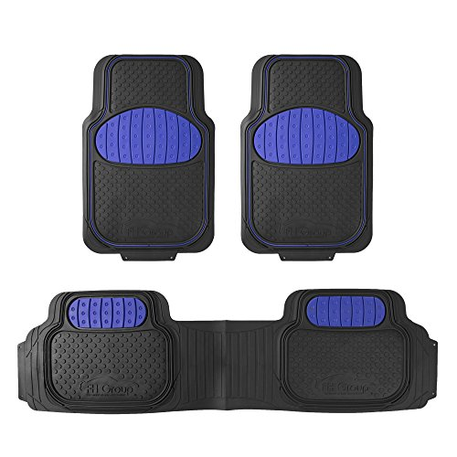 2006 Mustang Floor Mat - FH Group F11500BLUE Blue Heavy Duty Touchdown Rubber Floor Mat (Red Full Set Trim to Fit)