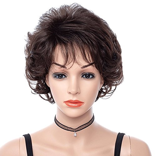 Brown Short Curly Wavy Wig Synthetic Hair Fashion Brown Hair Wig For Women with Free Wig Cap