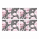 InterestPrint Watercolor Floral Pink Flowers Rose Leaves Gray Placemat Table Mats Set of 4, Heat Resistant Place Mat for Dining Table Restaurant Home Kitchen Decor 12''x18''