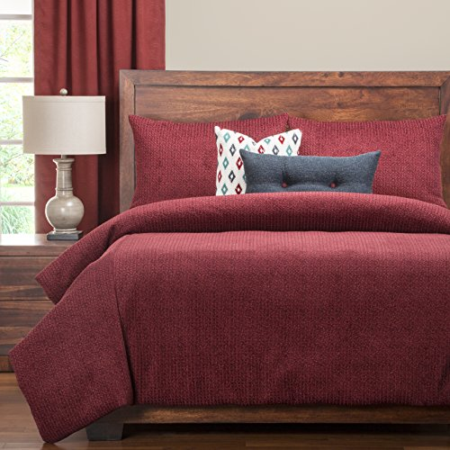 6-Piece Solid Textured Pattern Duvet Cover King Size Set, For Luxury Modern Bedroom, High-End Luxurious Glam Theme, Soft & Cozy Reverse Bedding, Classic Style, Vibrant Vivid Color Burgundy Red