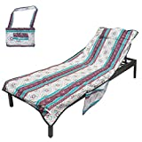 YOULERBU Beach Chair Cover with Pillow Breathable Sponge Thickened Pool Lounge Chair Towel Beach Towel with Side Pockets