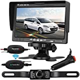 Emmako Backup Camera Wireless 7'' Monitor Kit For Car/SUV/RV/Van Rear/Side/Front View System Guide Lines ON/OFF Width and Length Adjustable IP68 Waterproof Night Vision Reversing Use