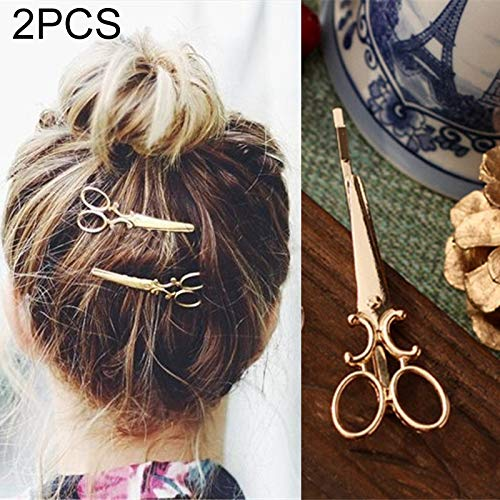 Hoops Head Bands Hoops 2 PCS simple hair ornaments personalized hair clips ornaments retro word folder headdress(Gold) (Color : Gold)