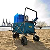 Uquip XL Beach Wagon Buddy Heavy Duty Cart with Big Wheels, Collapsible Steel Frame, Blue