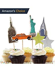 Value Pack- 24 Cupcake Toppers Picks- Various Themes (New York City)