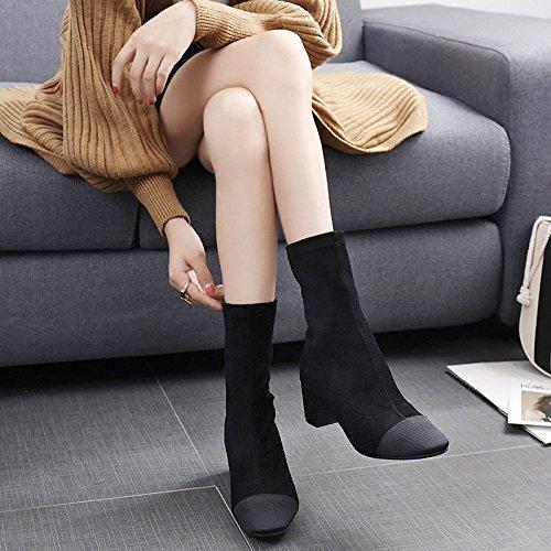 KHSKX-Zapatos Femeninos Cálido En Invierno Con Los Estudiantes Coreanos Todo Pedal Partido Cashmere Lycra Medias Elásticas Gruesas Botas Botas Con PlazaTreinta Y NueveBlack