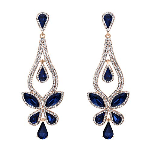 BriLove Women's Wedding Bridal Crystal Teardrop Butterfly-Shape Pierced Dangle Earrings Navy Blue Gold-Toned