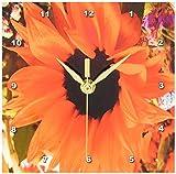 3dRose dc_76944_1 Flaming Orange Sunflower-Desk Clock, 6 by 6-Inch