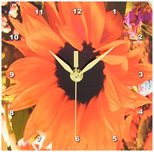 3dRose dc_76944_1 Flaming Orange Sunflower-Desk Clock, 6 by 6-Inch