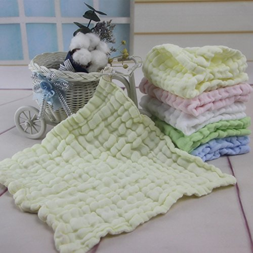 Baby Square Towel 6 Layers Baby Cotton Towel Newborn wash Towel Stretching 5 Packs