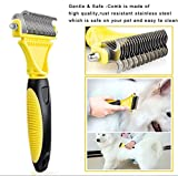 generice Dog Grooming Brush Stainless Steel Comb for Cats Dogs 2 Sided Professional Pet Dematting Comb Undercoat Rake Removes Mats Tangles Knots
