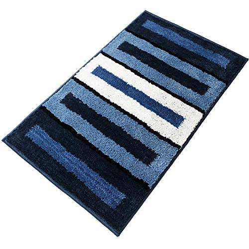(youta Non Slip Bath Rug Absorbent Non-Skid Backing Mat Striped Shaggy Door Mat for Bathroom Kitchen Entry 20x32 Inch Blue Piano )