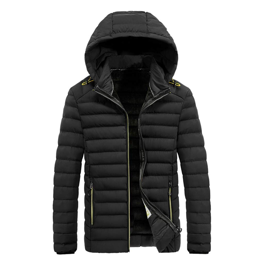 Alalaso Bown Jacket for Men, Men's Winter Splicing Hoodie Patchwork Thickened Cotton Padded Coat Black by Alalaso