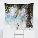 Tropical Beach Tapestry - Palm Tree Summer Watercolor Wall Tapestries Hanging Décor Bedroom Dorm College Living Room Home Art Print Decoration Decorative - Printed in the USA - Small Medium Large
