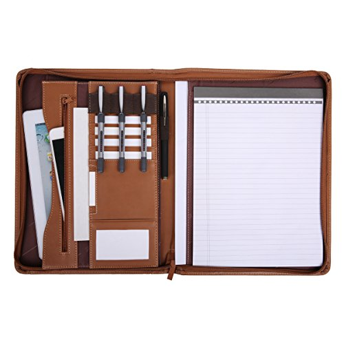 Leathario File Folder Padfolio Writing Pad Business Presentation Folder Portfolio (Brown-A4-2)