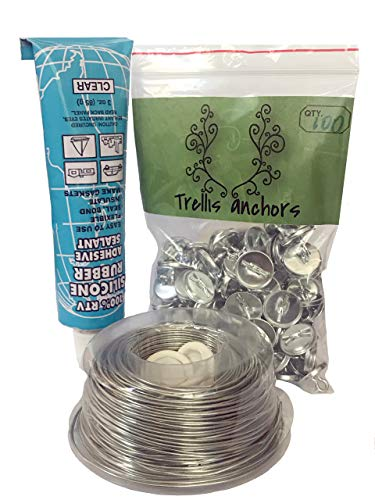 Plant Anchors - Trellis Anchor Plants, Vine, Trellis Design Kit 100-Piece Plant Anchors,3 Ounce Silicone Adhesive, 175 Feet Galvanized Steel Wire and Finger Cots