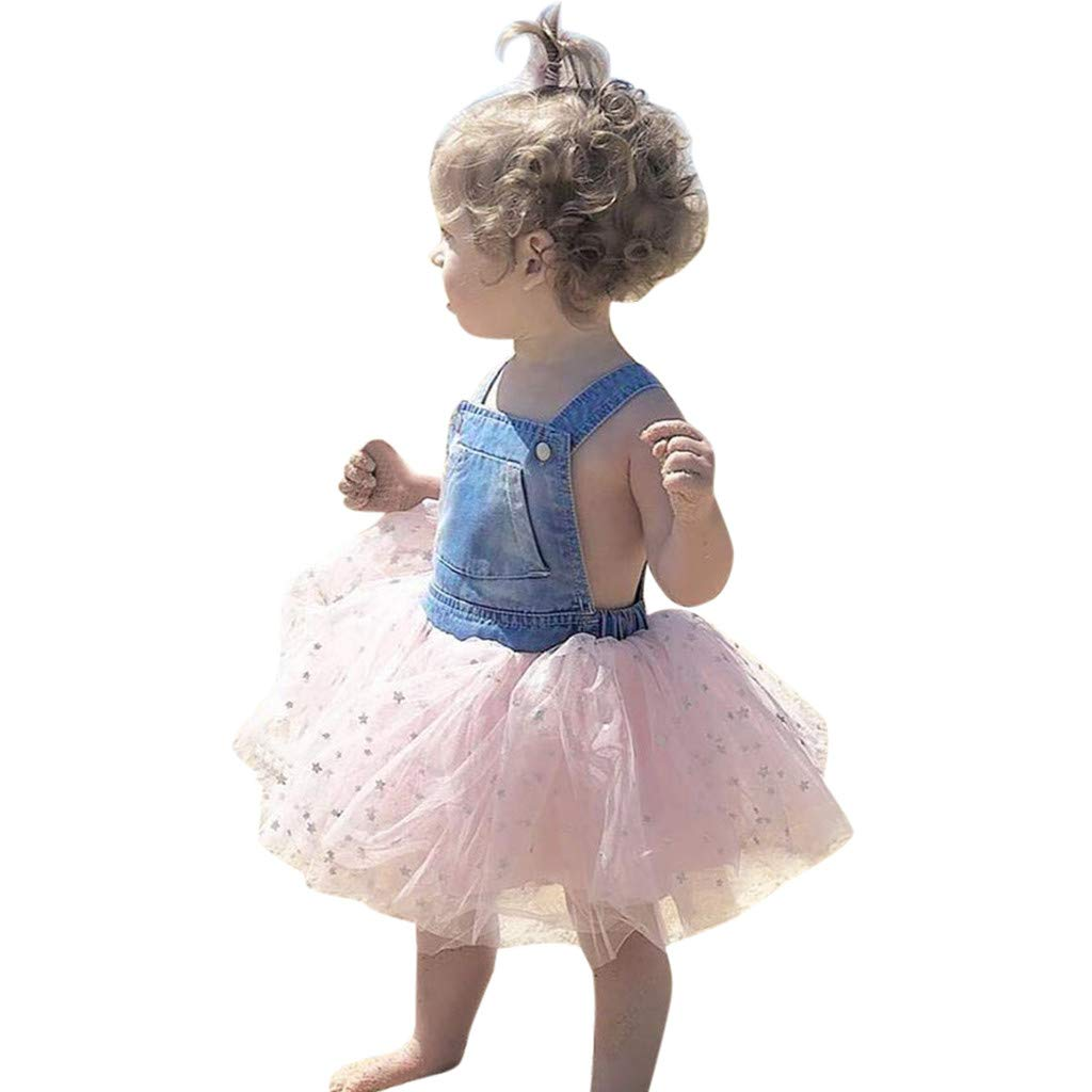 8852fe404c7d Amazon.com: NUWFOR Toddler Kids Baby Girls Dress Denim Splice Tulle Party  Pageant Princess Dresses: Clothing