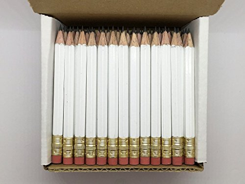 (Half Pencils with Eraser - Golf, Classroom, Pew, Short, Mini, Non Toxic- Hexagon, Sharpened, 2 Pencil, Color - White, Box of 72, Pocket)