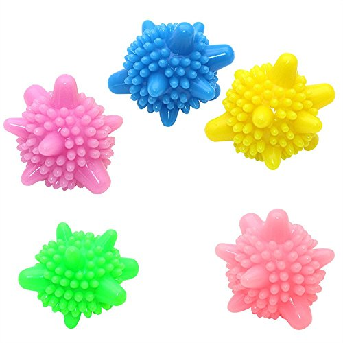Solid Colorful Laundry Ball,Admire U Washing Ball Reusable Washing Machine Balls for Cleaning Clothes (5 Pcs)