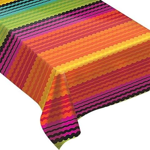 Amscan Festive Cinco de Mayo Party Flannel-Backed Vinyl Table Cover (1 Piece), Multi Color, 15 x - Fiesta Table