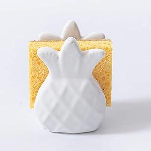 HauSun Sponge Holder for Kitchen Sink Modern Farmhouse Sponge Holder Caddy (Sponge is Included)/ Paper Napkin Holder,Make Kitchen Bathroom Sink Organized, Decorated and Clean