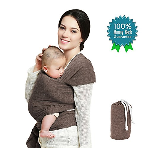 Baby Wrap Carrier,Baby Sling,Dad and Mom Baby Body Carrier,Snugglie Infant Baby Carrier,Breastfeeding Light Sling Wraps for Baby,Baby Holder Wraps,Great Baby Shower Gift By BELOPO(Latte (Cotton Infant Baby Wrap)
