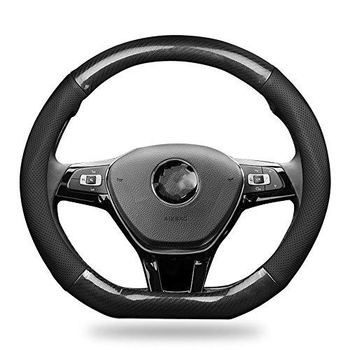 YOUQI Genuine Leather Carbon Fiber D-Cut Car Steering Wheel Covers Soft Anti-slip 15