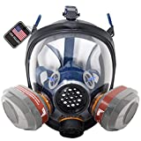 PD-101 Full Face Organic Vapor Respirator - Full Manufacturer Warranty - ASTM Certified - Double N95 Activated Charcoal Air filter - Eye Protection - Industrial Grade Quality
