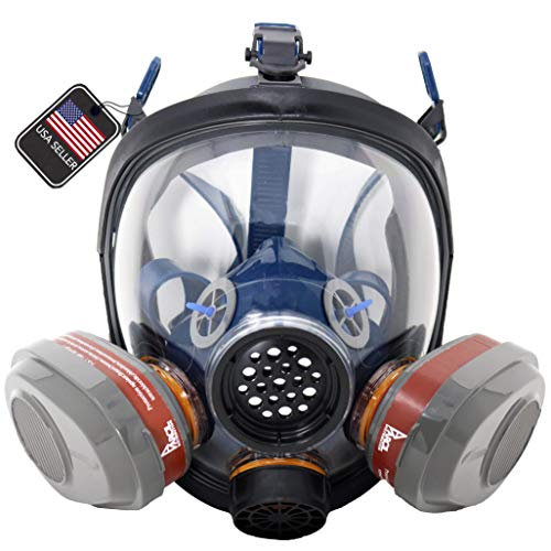 PD-101 Full Face N95 Respirator - ASTM Certified - Double N95 Activated Charcoal Air filter - Industrial Quality
