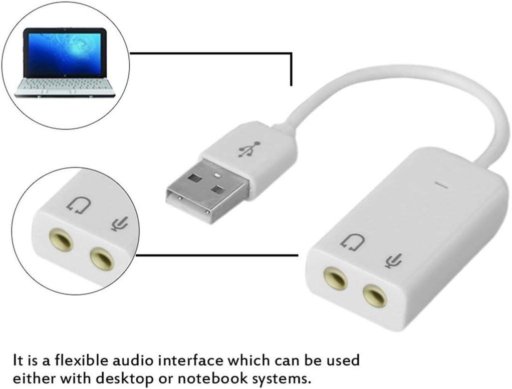 vbncvbfghfgh Professional Notebook USB 7.1-Kanal Externe Soundkarte Adapter mit unabh/ängigen externen Soundkarte Wei/ß