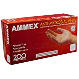 AMMEX Anti-Microbial Vinyl Disposable Gloves - Clear, 3 mil, Latex-Free, Powder-Free, Non-Sterile, Ambidextrous, Medium, Box of 200