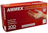 AMMEX - AAMV44100 - Vinyl Gloves - Anti-Microbial, Powder Free, Food Safe, Industrial, 4 Mil, Medium, Clear (Case of 2000)