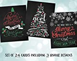 Christmas Cards, Vintage, Holiday, Chalkboard, Retro, Seasonal, Happy Holidays, Noel, Blackboard, Tree, Red, Green, Yule, Christmas Tree, 24 Assorted Greeting Cards with Envelopes Assortment Pack