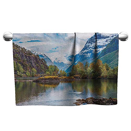 Bensonsve Square Towel Nature,Norway Mountain Range with Snowy Peaks by The Lake Fishing Nordic Northern Landscape, Multicolor,Hanging Towel Rack for Bathroom