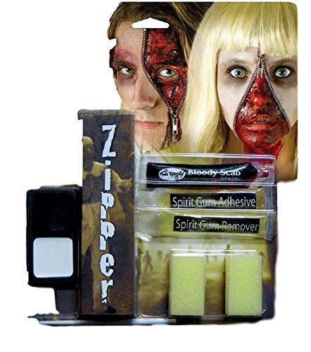 Mens Ladies Devil Werewolf Dead Zombie Halloween Special Effects Bloody Zipper Face Paint Make Up Kit (Zombie) -