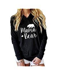 Vin beauty Women's Mama bear Hoodies Top Outwear black L S/M/L/XL