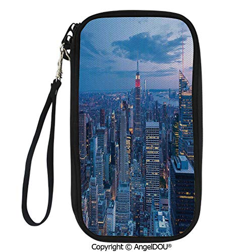 PUTIEN New Fashion Card Holder Wallets Aerial Night View of NYC with Dusk Sky Cloudy Sunset in City Fashion Capital Art Photo for Men Women Travel Business.