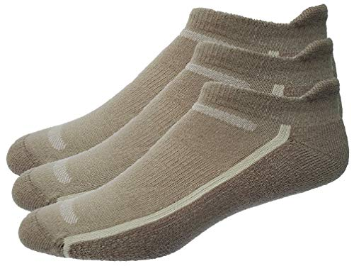 Mens 3-Pack No Show Tab Golf Socks (Large, Khaki) (Golf Socks High)