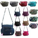 Aossta Fabric Multi Zip Pockets Cross Body Messenger Long Shoulder Strap Bag