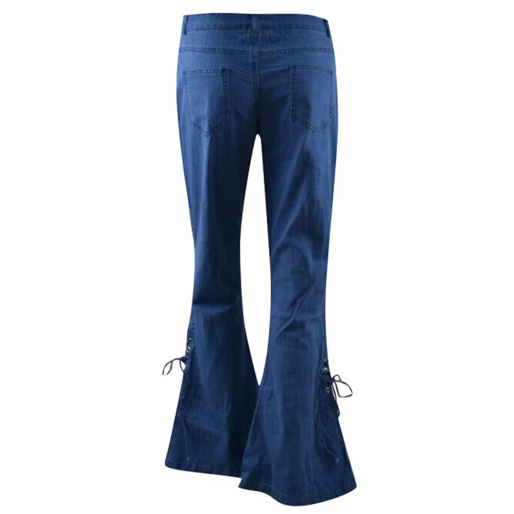Lianmengmvp Mujer Pantalones Acampanados Vaqueros Cintura Alta Jeans De Mujer Jeans Pantalones Largos Elastico Cintura Alta Retro Flared Jeans Materiales De Impresion 3d Granular
