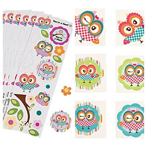 Adorable & Colorful OWL Party FAVORS - 72 TATTOOS & 24 STICKER Sheets - SUMMER Arts & Crafts - HOOT - TEACHER - Daycare -
