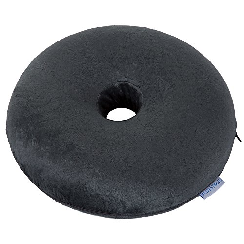 Bluestone Memory Foam Donut Cushion with Zippered Black Plush Cover