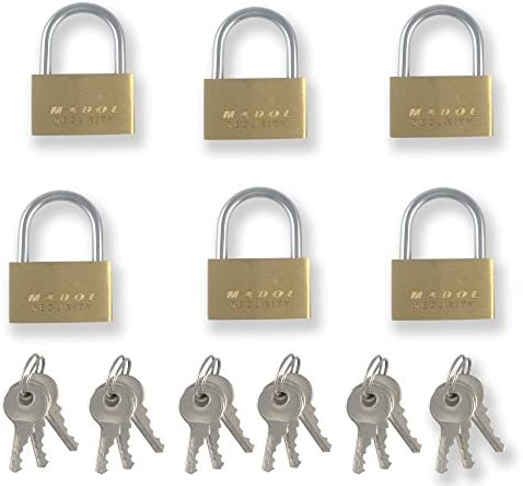 1 Inch 25mm Small Mini Brass padlock with Brass Chromed Keys PACK of 6 all Keyed Alike [625KA-6] Mini Tiny Locks Keyed for Jewelry Box or suitcases and diaries