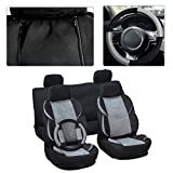 70 impala steering wheel - CCIYU Seat Cover, Universal Car Seat Cover w/Headrest Cover/Steering Wheel/Shoulder Pads - 100% Breathable Washable Auto Seat Cover Replacement for Most Cars Trucks Vans (Black/Gray)