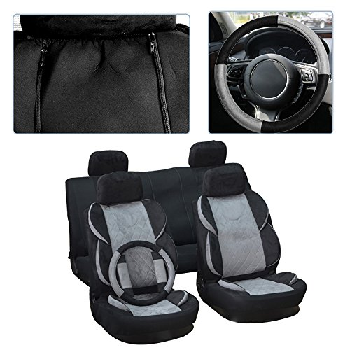 cciyu Seat Cover, Universal Car Seat Cover w/Headrest Cover/Steering Wheel/Shoulder Pads - 100% Breathable Washable Auto Seat Cover Replacement for Most Cars Trucks Vans (Black/Gray)
