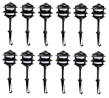 12 Pack Malibu 8401-9203-12 LED Cast Metal Pagoda 3-Tier Lights, Low Voltage, 1.4 watts, for Pathways, Yards, Landscapes w/ Black Finish BY MALIBU DISTRIBUTION