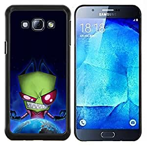 Queen Pattern - FOR Samsung Galaxy A8 A8000 - green monster evil ufo alien villain earth planet - Cubierta del caso de impacto con el patr???¡¯???€????€??&s